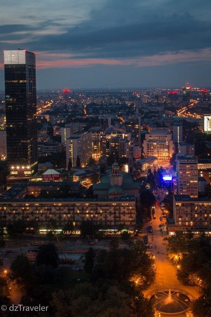 A view of Warsaw at night