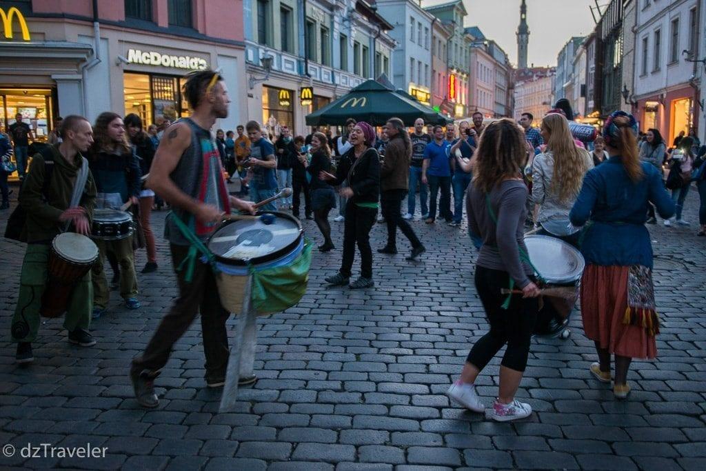 Street music after dark