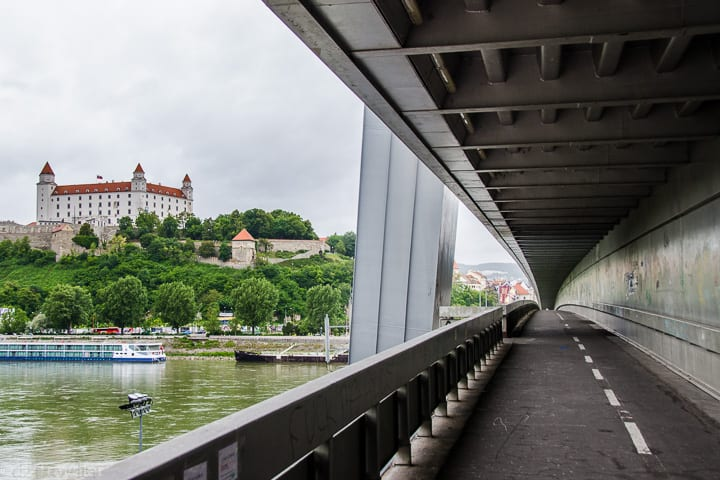 UFO Bridge - easily walkable from one side of the Danube river to the other