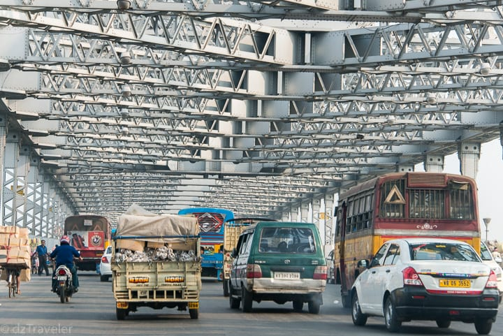 Howrah Bridge over The mighty Hooghly River in Kolkata, India